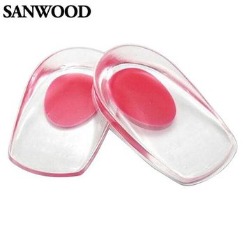New Gel Shoes Insoles Cushion Heel Cup Massage Pads Inserts Heel Pain Spur Silicone 9IJ2