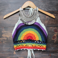 rainbow festival halter crop top in white