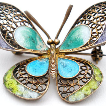 On Sale 800 Silver Butterfly Brooch Plique-à-Jour Filigree Enamel Pin