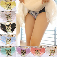 Hot Sale Cotton Women Panties 3D Printed Cat Briefs Underwear