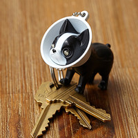 Boston Terrier LED Keychain Black/White One