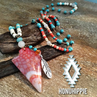 Native american arrowhead necklace, boho chic festival fashion