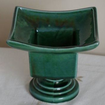 Asian Ceramic Pedastal Planter- Green USA Pottery Vase- Iridescent High Glaze, 1950's Planter- MCM Home / Office Decor- Vintage CA Pottery