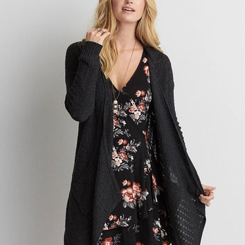 AEO Waterfall Pointelle Cardigan , Charcoal