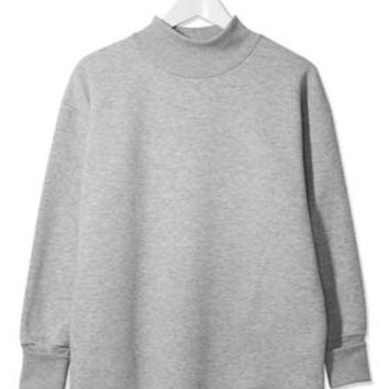 Funnel Neck Sweat - Grey Marl