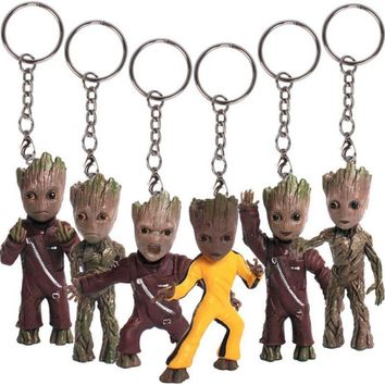 Baby Groot Guardians of the Galaxy Vol.2 KeyChain Keyring Figure Doll Toy Cute halloween children gift