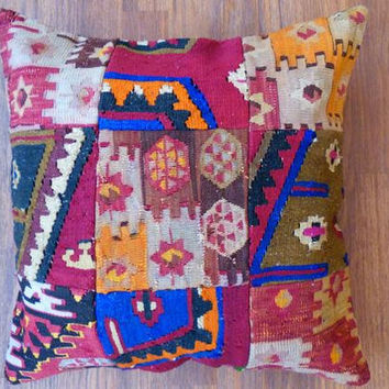 "Antique Turkish Rug,Kilim,Kelim,Decorative Pillow Case,Hand Woven,Patchwork Rug,Handmade Pillow Covers,""Pillow Cases"",""Pillow Covers"",Gift"