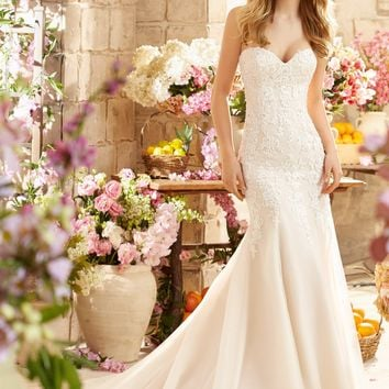 Voyage by Mori Lee 6807 Fit and Flare Lace Wedding Dress