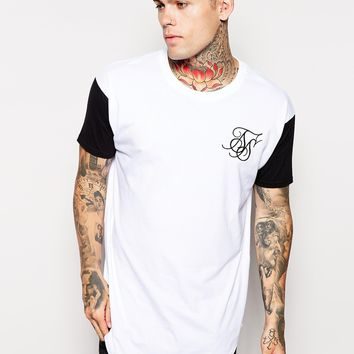 SikSilk Longline T-Shirt With Curved Hem