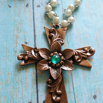 Copper Cross Necklace / Rosary Pearl Necklace / Cowgirl Chic Jewelry / Western Jewelry / Boho Cross Necklace / Mixed Metal Necklace