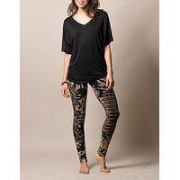 Natural Black Tie-Dye Leggings