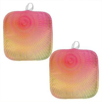 ONETOW EDM Pastel Unicorn Rainbow Spiral All Over Pot Holder (Set of 2)