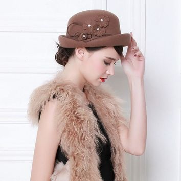 Mother Gift Autumn And Winter Woman Banquet Top Hat Lady Party Top Grade  100% Wool Felt Fedora Caps