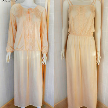 Vintage Peach Peignoir Set, Janice Young for Vanessa, Romantic Peach Lace Peignoir Set, Vintage Wedding Lingerie Size Small