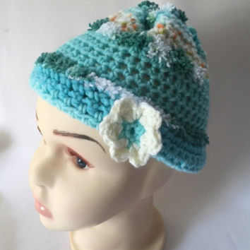 Handmade Crochet Infant Baby Girl Hat Blue Beanie