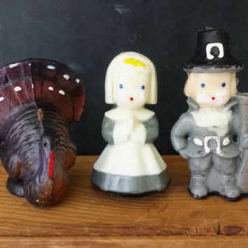 Vintage Gurley Thanksgiving Candles Pilgrims Turkey Retro Fall Decorative Display Novelty Candle Holiday Table Centerpiece Decor