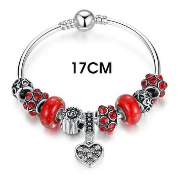 Silver Color Red Murano Glass Beads Heart Pendant Charm Bracelets & Bangles Fashion Jewelry PA3809