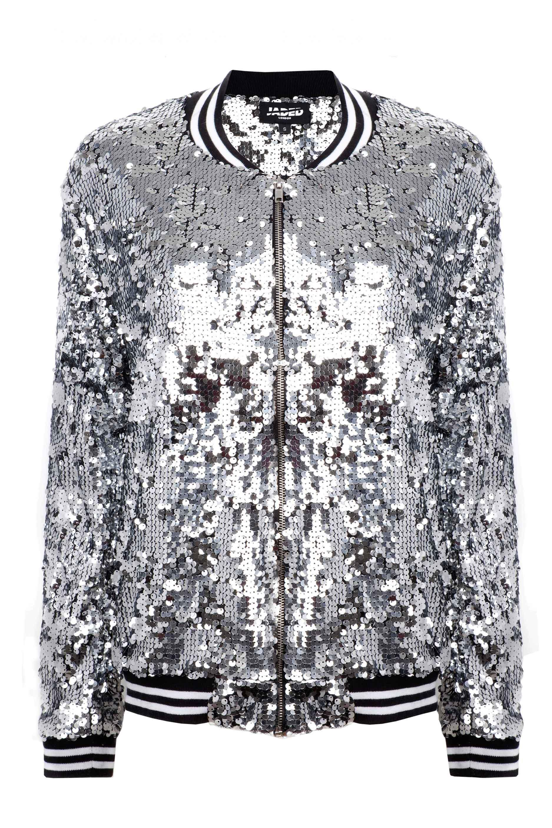a750bf933 Silver Sequin Bomber Jacket