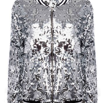 Silver Sequin Bomber Jacket