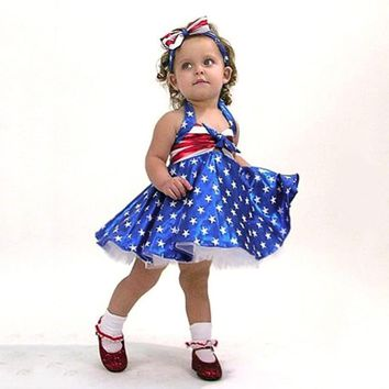 Adorable American Flag Dress with Matching Headband