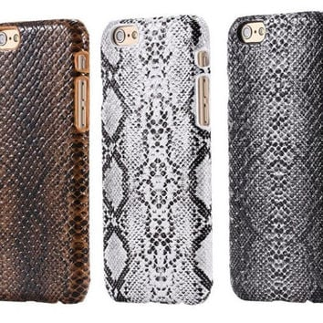 iPhone 6 & 6 Plus Snake skin deluxe case PU Leather back shell cover