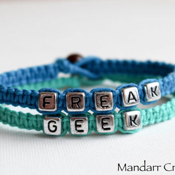 Freak and Geek in Turquoise and Teal, Hand Knotted Bracelet Set for Couples or Best Friends, Quirky Accessory, Made to Order