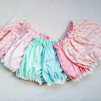 Kawaii Candy Color White Ruffle Shorts