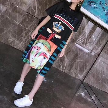 gucci women loose personality multicolor crown pattern short sleevet shirt dress