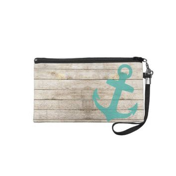 Girly Nautical Blue Anchor and Wood Look Wristlet Clutch from Zazzle.com