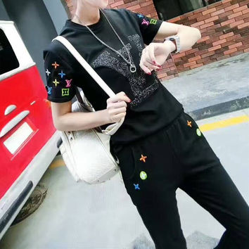 Fashion Casual Multicolor Embroidery Flower Letter Short Sleeve Sweater Set Two-Piece Sportswear