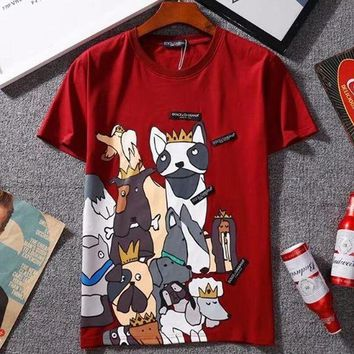 PEAPIH3 D&G Stylish New Style Women Men Casual Cartoon Dog Print Short Sleeve T-Shirt Pullover Top I-GQHY-DLSX