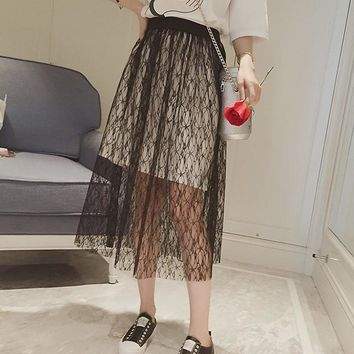DERUILADYSexy Transparent Women High Waist Skirt Lace Mesh Mid-Calf Summer Loose Skirts Streetwear Casual Harajuku Women Clothes