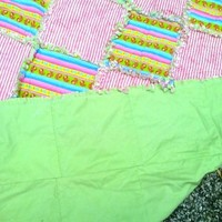 Little Girl Pink and Paisley stripe Rag Quilt 40x48