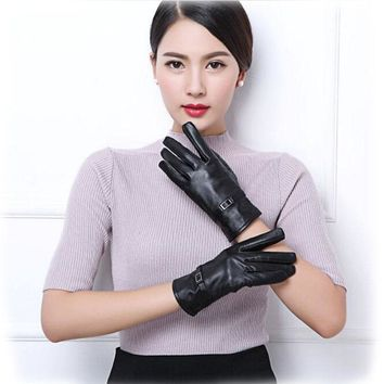2017 Windproof Outdoor lady Winter Gloves Women leather PU glove Stretchy Soft Warm Keeping Glove mini cute Mittens
