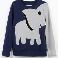 323Fun elephant pattern long-sleeved pullover sweater leisure
