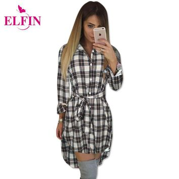 Autumn Women T Shirt Plaid Casual Button Irregular Hem Long Sleeve Top Bandage Turn Down Collar Plus Size Women Clothing LJ5932R