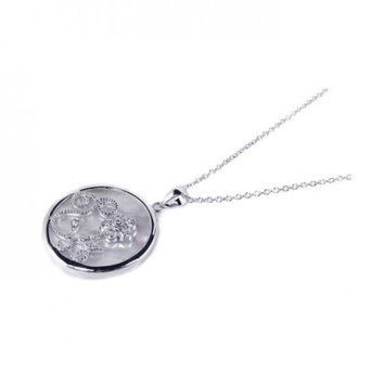 Sterling Silver Clear Cubic Zirconia Mother Pearl Rhodium Plated Round Circle Pendant Necklace