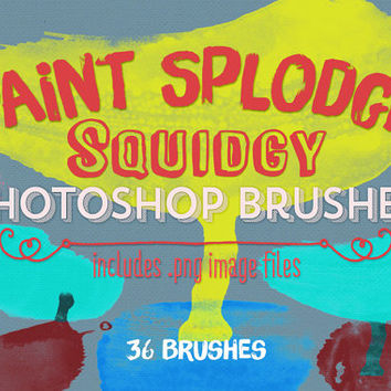 Paint Splodges Photoshop Brushes Clipart - 35 Squidgy Paint Splodges - Digital Stamps