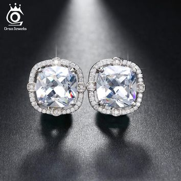 ORSA JEWELS Party Wearing Big Size 4ct Cushion Cut Multi Color CZ Crystal Stud Earrings for Girls Nickel Free Earring OE150