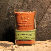 Bulleit Bourbon Candle - Recycled Rye Whiskey Bottle 1L Soy Candle Double Wick 26oz Upcycled Handmade