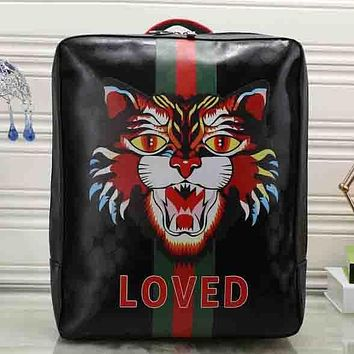 Perfect Gucci Women Fashion Leather Angry Cat Print School Bookbag Backpack