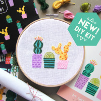 DIY Embroidery Kit - Cactus - Stitchy Friday - Gift for her - embroidery DIY kit - cacti - embroidering plants - cactus embroidery - DIY kit