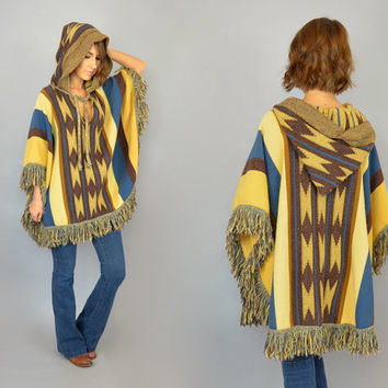 "SOUTHWESTERN vtg 70's bohemian hippie gypsy ethnic ""Cuddle Knit"" HOODED PONCHO cape jacket, one size fits most"