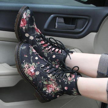 Ladies Vintage Floral Pattern Womens Boots Shoes