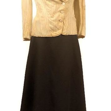 Vintage Coal Black Long Maxi Skirt from the 1980's