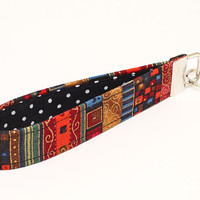 Hippie Key Fob, Fabric Keychain Wristlet, Blue Keyring, Key Lanyard, Handmade Keyfob - red gold boho stripes black dots