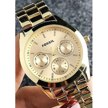 FOSSIL Tide brand personality fashion simple men and women models quartz watch Gold