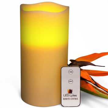 Pillar Candle with Amber Yellow Flame One Large Flameless Wax and Remote