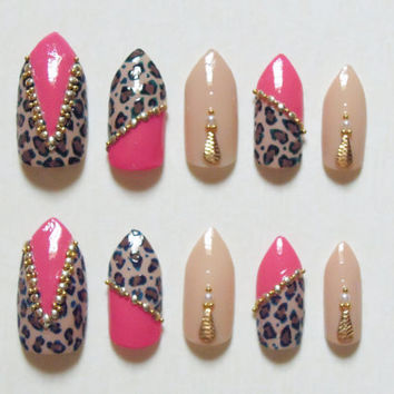 Pink and Nude Stiletto Fake Nails with Cheetah Print, Pearls, Gold Studs and Beads Bling Nail Set