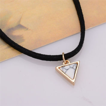 Black Velvet Choker Necklaces With Triangle Faux Stone - Free - Just Pay Shipping